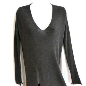 Zara Knit Sweater Long Tunic V Long Sleeve Gray S